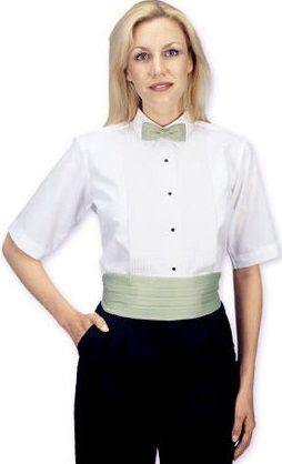 5b578616e36 Selected  White. Women s Lay-Down-Collar Tuxedo Shirt Short Sleeve
